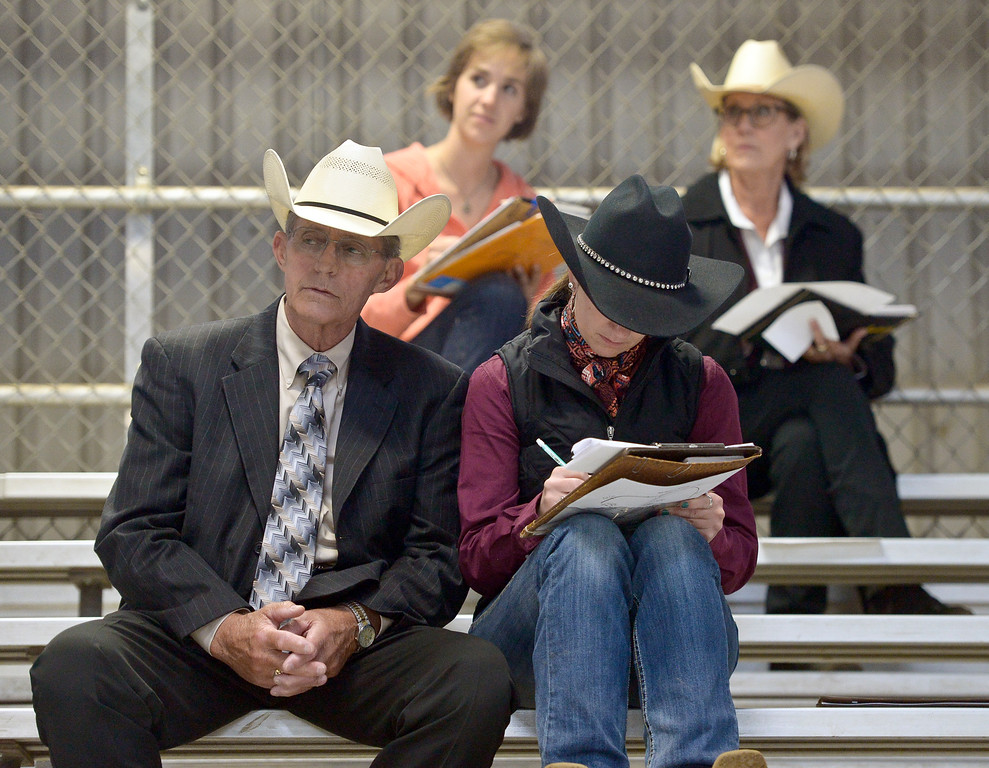 . Judges sit in the stands of the Indoor Arena to judge the junior ranch trail competition at the Mountain & Plains Appaloosa Horse Club\'s Spring Classic Horse Show Sunday at the Boulder County Fairgrounds. The event, which started Friday, had more than 50 horses entered. Competitors traveled from Nebraska, New Mexico, Arizona as well as western Colorado and the Longmont area. The Mountain & Plains Appaloosa Horse Club will be hosting another show at the fairgrounds in September. To view more photos visit timescall.com. Lewis Geyer/Staff Photographer May 13, 2018