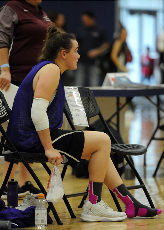 . Mountain View\'s Raleigh Basart watches her team\'s scrimmage at Power to Play Sports.