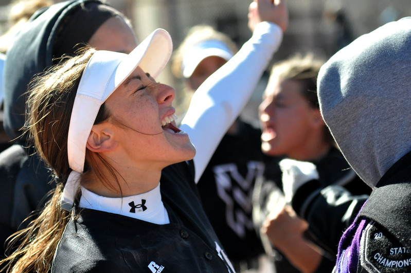 Mountain View senior Izzy Griego yells in celebration as the Lions won their first ever state championship. (Cris Tiller / Loveland Reporter-Herald)
