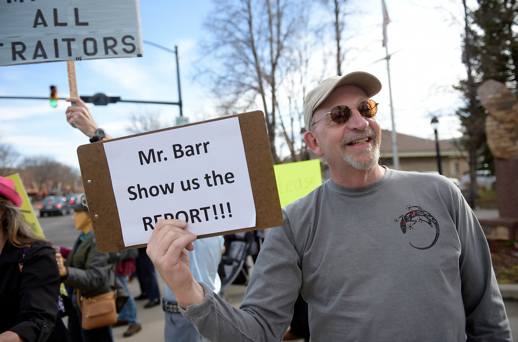 . LONGMONT, CO - APRIL 4: Bob Nyboer participates in the Day of Action protest Protest calling for Attorney General William Barr to release the Mueller report. The protest was along Main Street, at Sixth Avenue, April 4, 2019. To view more photos visit timescall.com. (Photo by Lewis Geyer/Staff Photographer)
