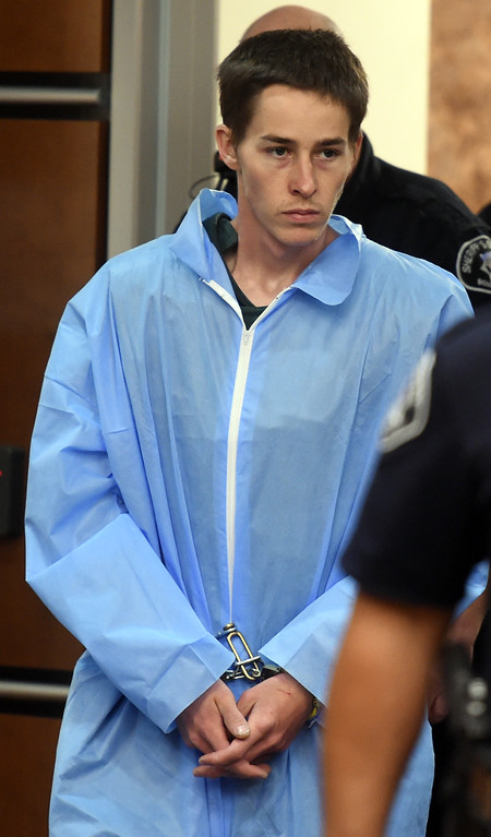 . Garrett Coughlin appears in Boulder District Court on Thursday, May 18, 2017. Garrett Coughlin was booked on  three counts of first-degree murder during the commission of a robbery and aggravated robbery. He\'s accused of killing Wallace White, 54, Kelly Sloat-White, 56 and Emory Fraker, 39. The Whites were from Golden, and Fraker, Wallace\'s brother, was from Broomfield. Cliff Grassmick / Staff Photographer/ May 18, 2017