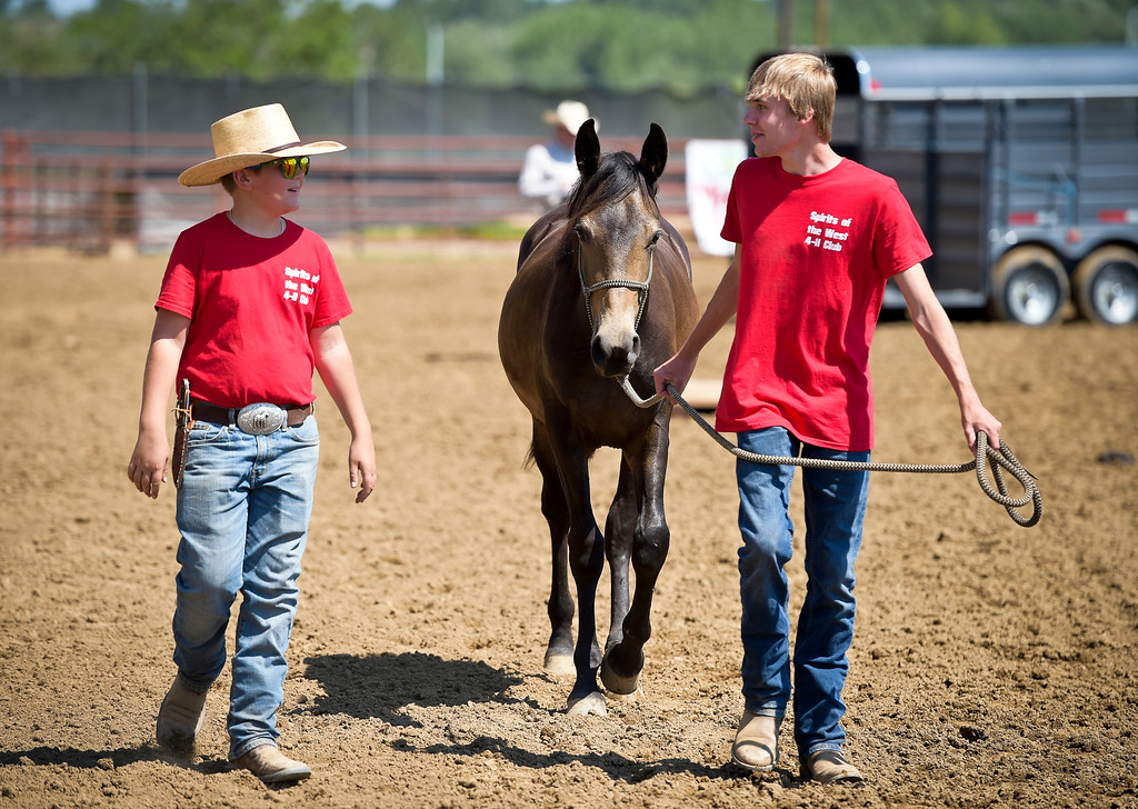 . Spirits of the West 4-H club members Preston Sander-Ferracane, 12, left, and Sawyer Burwick, 16, walk Olive through an obstacle course during the mustang showcase at the Boulder County Fair Tuesday. To view more photos and a video visit timescall.com. Lewis Geyer/Staff Photographer August 01, 2017