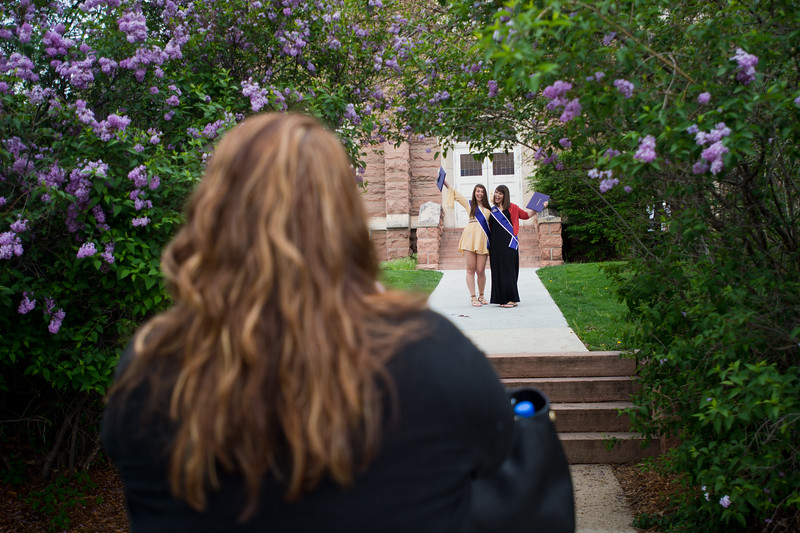 "Jessica Eves takes photos of Amy Van Sweden (left) and Amy Lowright after Naropa University's graduation at Macky Auditorium on Sunday.<br /> More photos:  <a href=""http://www.dailycamera.com"">http://www.dailycamera.com</a><br /> Autumn Parry/Staff Photographer<br /> May 8, 2016"