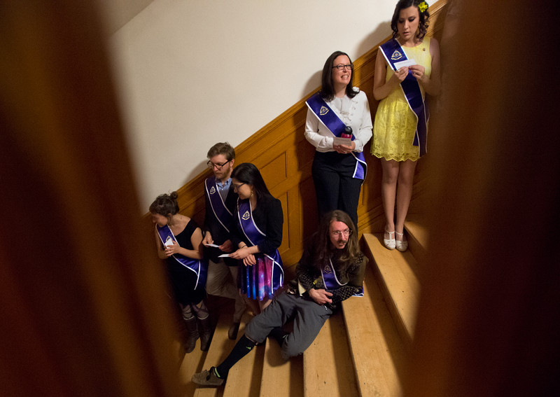 "Naropa University's graduate students line up in order as they wait for the commencement ceremony to begin at Macky Auditorium in Boulder on Sunday. <br /> More photos:  <a href=""http://www.dailycamera.com"">http://www.dailycamera.com</a><br /> Autumn Parry/Staff Photographer<br /> May 8, 2016"