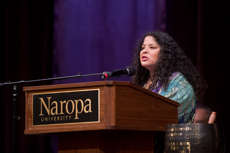 "Brenda Salgado, the former Center Director at East Bay Meditation Center, gives the commencement address for Naropa's graduation ceremony at Macky Auditorium on Sunday.<br /> More photos:  <a href=""http://www.dailycamera.com"">http://www.dailycamera.com</a><br /> Autumn Parry/Staff Photographer<br /> May 8, 2016"