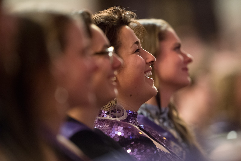 "Alida Lettunich laughs while listening to the commencement address given by Brenda Salgado during the graduation ceremony for Naropa University at Macky Auditorium.<br /> More photos:  <a href=""http://www.dailycamera.com"">http://www.dailycamera.com</a><br /> Autumn Parry/Staff Photographer<br /> May 8, 2016"