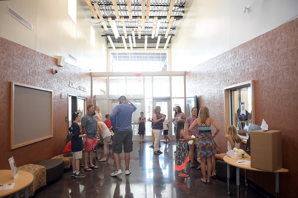 . Parents, students, and staff gather for tours of Grand View Elementary School, 6601 Aggregate Blvd., Frederick, Tuesday. To view more photos visit timescall.com. Lewis Geyer/Staff Photographer July 10, 2018