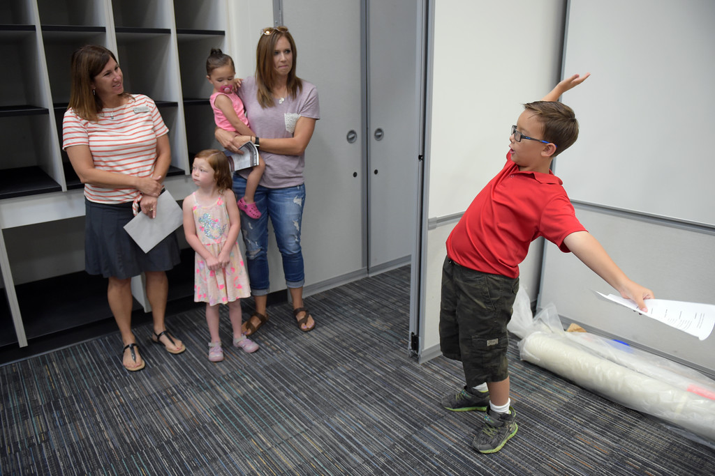 . Fourth Grader Walter Delgado gestures while helping with tours at Grand View Elementary School, 6601 Aggregate Blvd., Frederick, Tuesday. To view more photos visit timescall.com. Lewis Geyer/Staff Photographer July 10, 2018