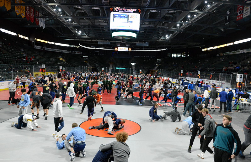 Wrestlers from 64 teams are entered at the Northern Colorado Christmas Tournament at the Budweiser Events Center for the weekend event that will see more than 1,000 matches wrestled over the course of the two-day event. (Mike Brohard/Loveland Reporter-Herald)