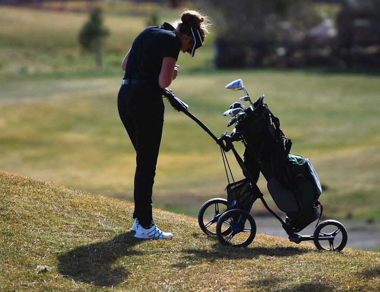 Niwot's Trinity Pleffner fills out her scorecard during the Northern League golf tournament on Tuesday, April 3, at Ute Creek Golf Course in Longmont.