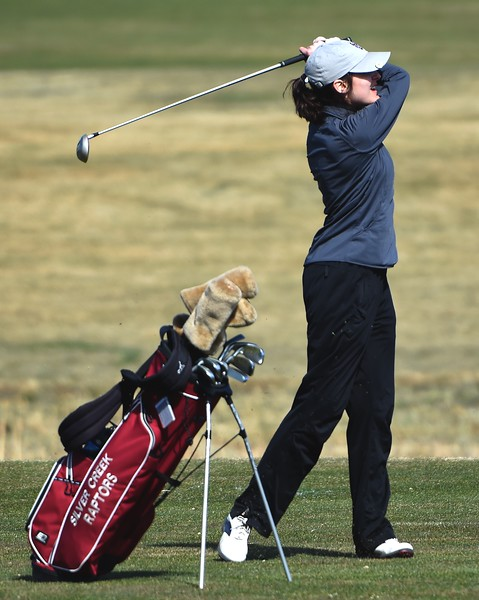 Silver Creek's Mollie McCoy tees off during the Northern League golf tournament on Tuesday, April 3, at Ute Creek Golf Course in Longmont.