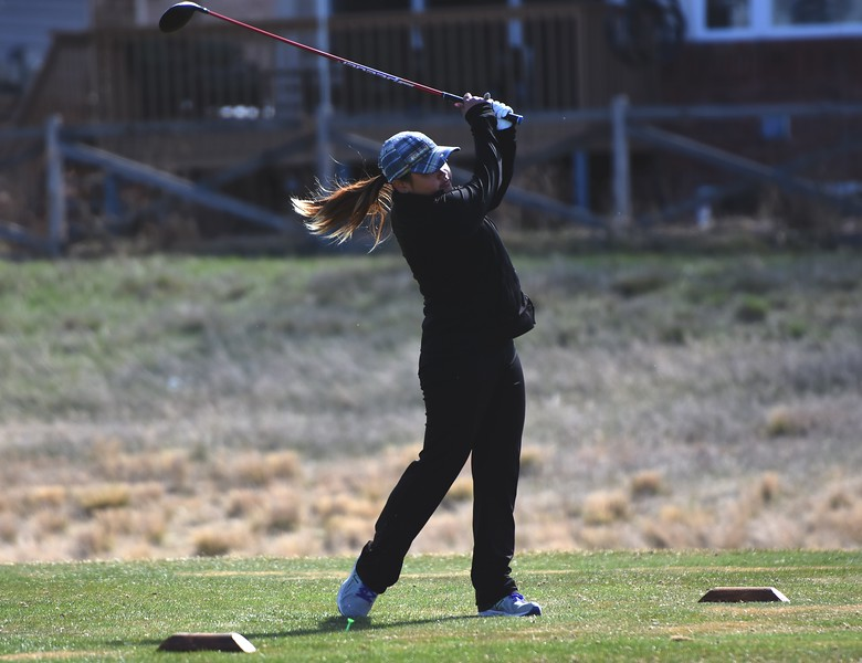 Niwot's Mya Ostrom tees off during the Northern League golf tournament on Tuesday, April 3, at Ute Creek Golf Course in Longmont.