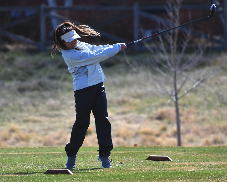 Niwot's Halie Ostrom tees off during the Northern League golf tournament on Tuesday, April 3, at Ute Creek Golf Course in Longmont.