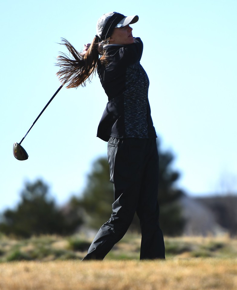 Silver Creek's Taylor Sandal drives on No. 18 during the Northern League golf tournament on Tuesday, April 3, at Ute Creek Golf Course in Longmont.