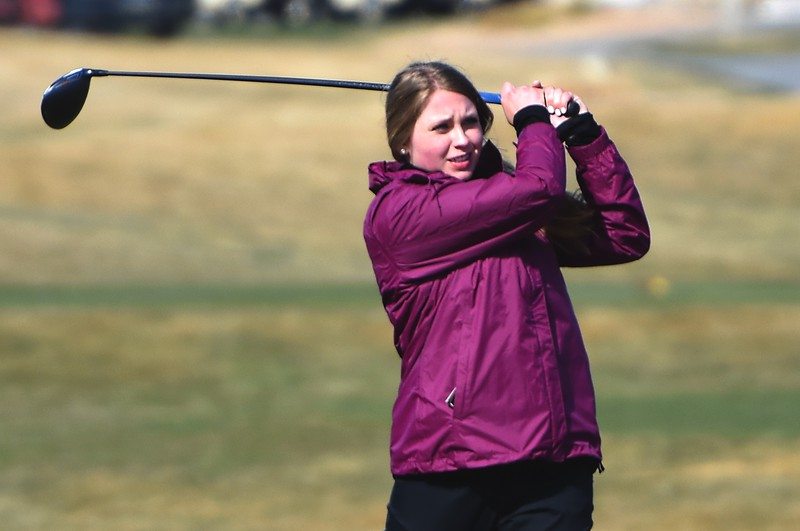 Silver Creek's Lauren Ranglos watches a drive during the Northern League golf tournament on Tuesday, April 3, at Ute Creek Golf Course in Longmont.