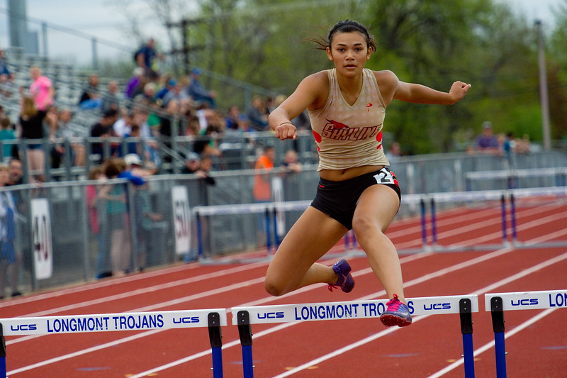 "Skylines' Leah Osborn competes in the 300 meter hurdles during the Northern/Tri-Valley/Mile High League Championships at Longmont High School on Friday.<br /> More photos:  <a href=""http://www.BoCoPreps.com"">http://www.BoCoPreps.com</a><br /> Autumn Parry/Staff Photographer<br /> May 6, 2016"