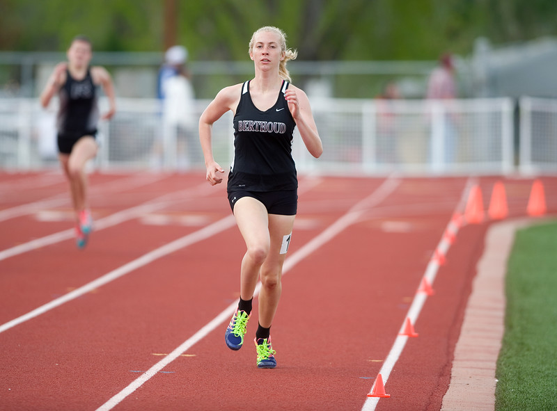 "Berthoud's Cailey Archer competes in the 400 meter dash during the Northern/Tri-Valley/Mile High League Championships at Longmont High School on Friday.<br /> More photos:  <a href=""http://www.BoCoPreps.com"">http://www.BoCoPreps.com</a><br /> Autumn Parry/Staff Photographer<br /> May 6, 2016"