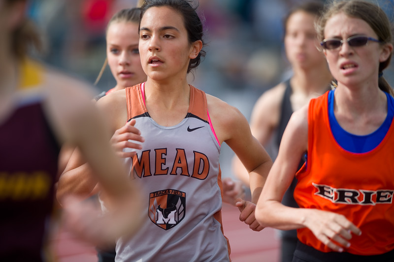 "Mead's Sophia Maeda competes in the 1600 meter run during the Northern/Tri-Valley/Mile High League Championships at Longmont High School on Friday.<br /> More photos:  <a href=""http://www.BoCoPreps.com"">http://www.BoCoPreps.com</a><br /> Autumn Parry/Staff Photographer<br /> May 6, 2016"