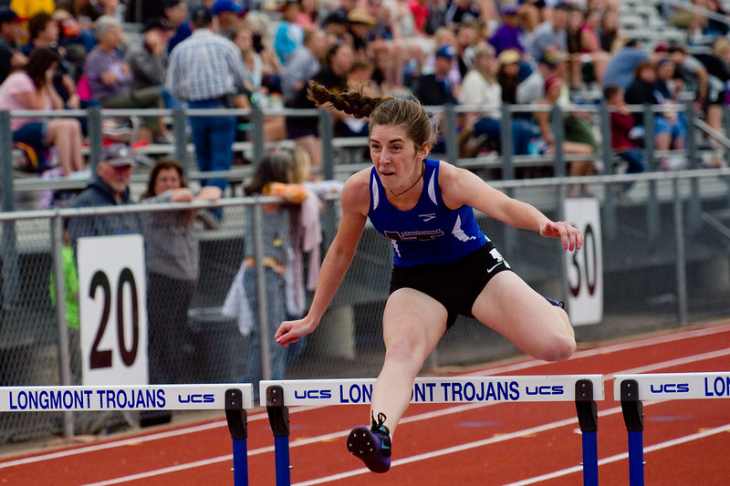 "Longmont's Tara Hitchcock competes in the 300 meter hurdles during the Northern/Tri-Valley/Mile High League Championships at Longmont High School on Friday.<br /> More photos:  <a href=""http://www.BoCoPreps.com"">http://www.BoCoPreps.com</a><br /> Autumn Parry/Staff Photographer<br /> May 6, 2016"
