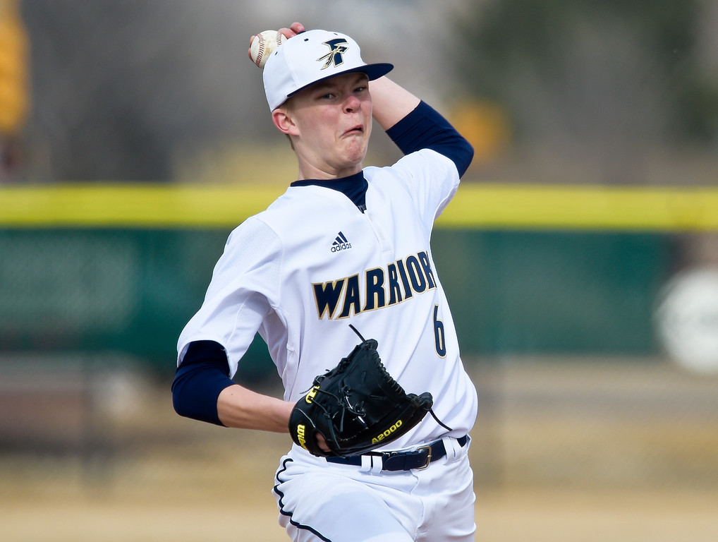 . FREDERICK, CO - MARCH 22: Frederick\'s Jonah Josh pitches in the first inning against Northridge at Frederick High School March 22, 2019. To view more photos visit bocopreps.com. (Photo by Lewis Geyer/Staff Photographer)