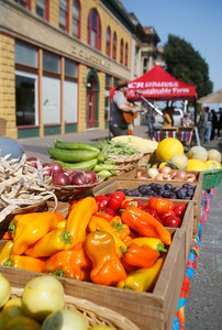 Shaun Walker — The Times-Standard  Fruits and vegetables sit on display at the Old Town Eureka Farmers Market on Tuesday morning. The market, on F Street between 1st and 2nd, is open every Tuesday from 10 a.m. to 1 p.m. June through October. For more information on it and other farmers markets, go to www.northcoastgrowersassociation.org.