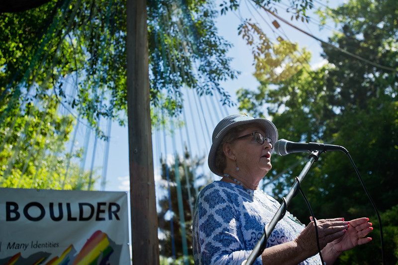 "Clela Rorex, a former Boulder County clerk who issued Tony Sullivan and his partner, Richard Adams, their marriage license in April of 1975, addresses the crowd during Out Boulder's Garden Party on Sunday. Sullivan, who is originally from Australia, finally received his green card this past April.<br /> More photos:  <a href=""http://www.dailycamera.com"">http://www.dailycamera.com</a><br /> (Autumn Parry/Staff Photographer)<br /> June 5, 2016"