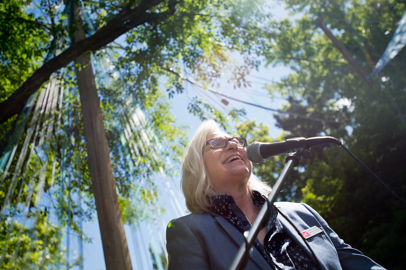 "Out Boulder's Executive Director Mardi Moore, addresses the crowd during Out Boulder's Garden Party on Sunday.<br /> More photos:  <a href=""http://www.dailycamera.com"">http://www.dailycamera.com</a><br /> (Autumn Parry/Staff Photographer)<br /> June 5, 2016"