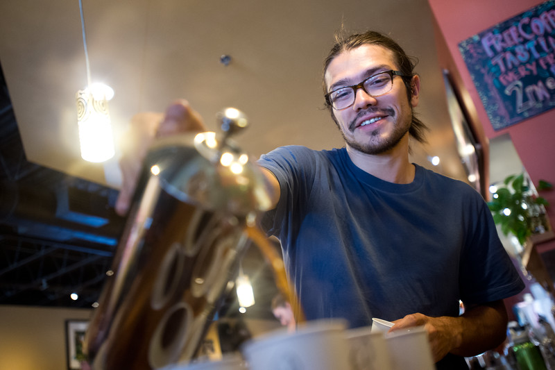 "Will MacFarlane pours cups of coffee during a coffee tasting of Santa Ines, a Brazilian coffee, at Ozo Coffee on Friday afternoon. <br /> More photos:  <a href=""http://www.dailycamera.com"">http://www.dailycamera.com</a><br /> (Autumn Parry/Staff Photographer)<br /> July 29, 2016"