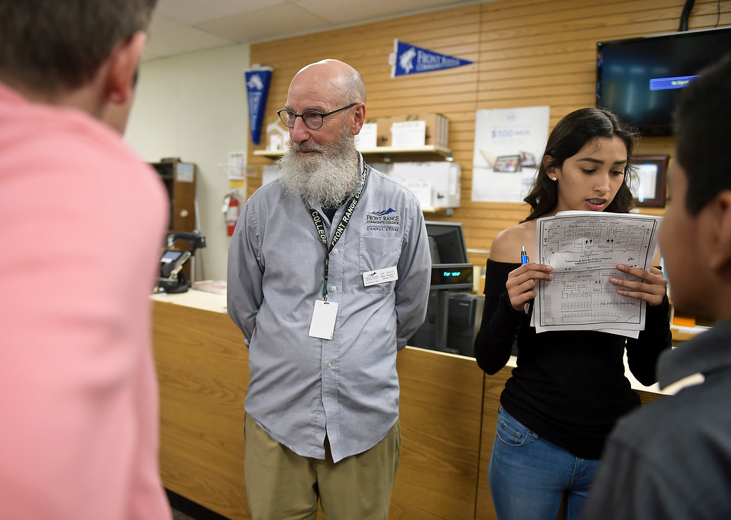 . Bookstore employee Joe Yurkovic helps P-Tech student A\'Ishah Fregoso and her classmates during a scavenger hunt Thursday morning at Front Range Community College, 2190 Miller Dr. To view more photos visit timescall.com. (Photo by Lewis Geyer/Staff Photographer) August 02, 2018