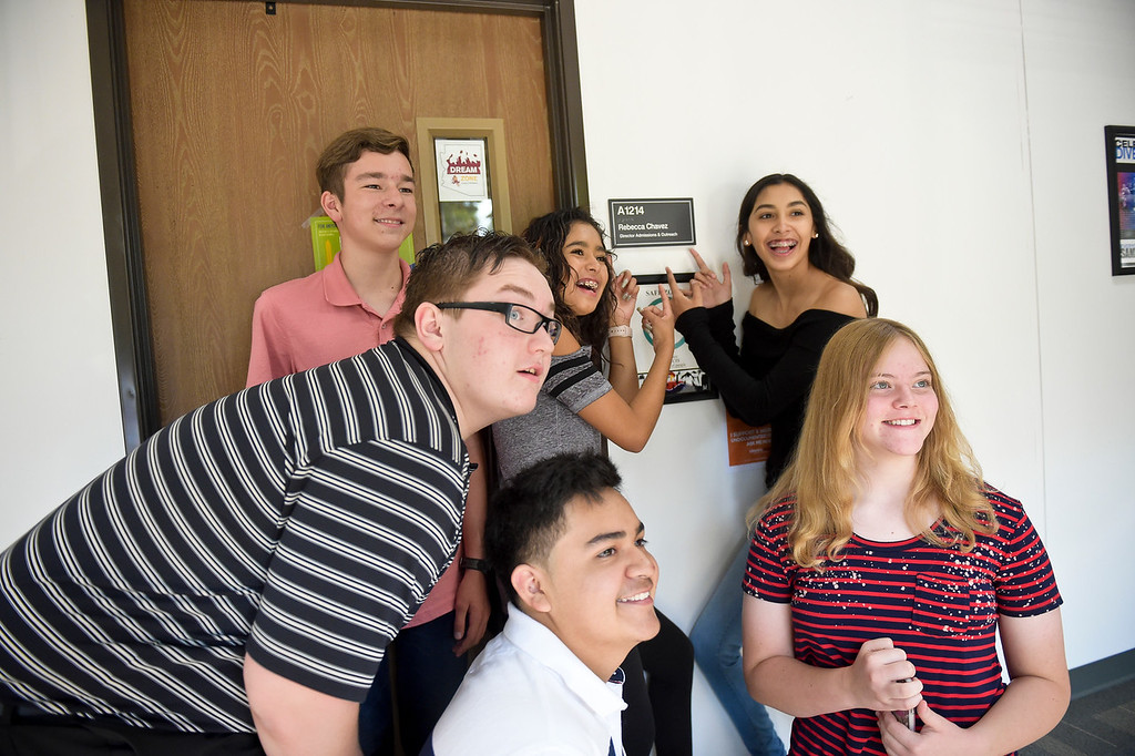 . From left P-Tech students Alexander Cralley, Kaleb Allen, Bryan Carley, Esmeralda Enriquez, A\'Isha Fregoso and Taryn Caquelin pose for a photo during a scavenger hunt Thursday morning at Front Range Community College, 2190 Miller Dr. To view more photos visit timescall.com. (Photo by Lewis Geyer/Staff Photographer) August 02, 2018