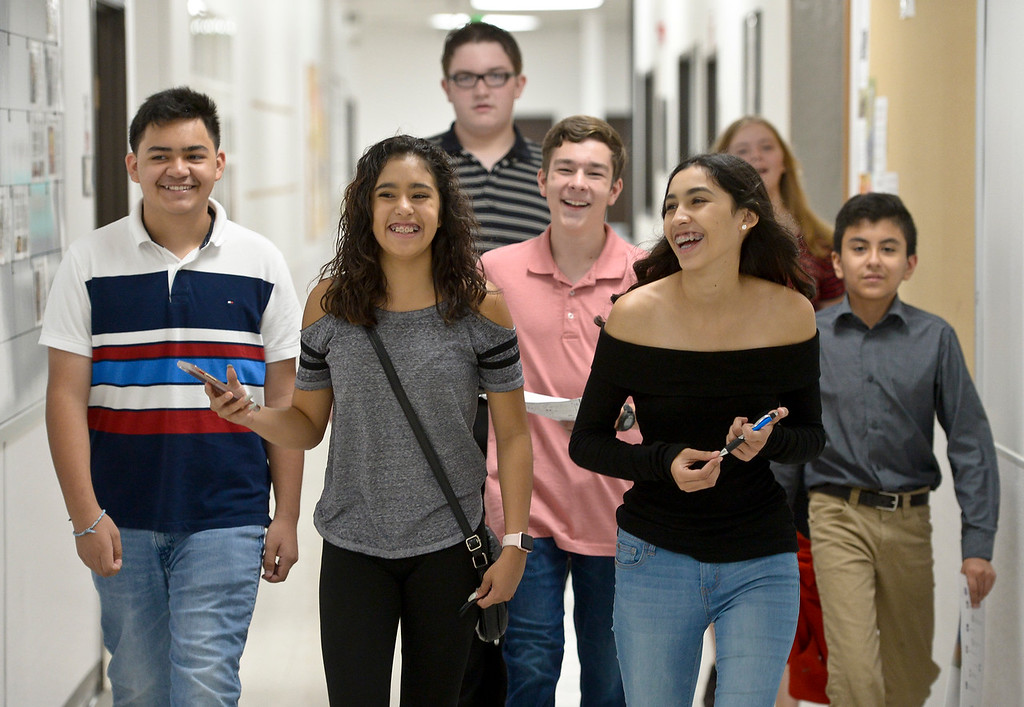 . From left: P-Tech students Bryan Carley, Esmeralda Enriquez, Kaleb Allen, Alexander Cralley, A\'Isha Fregoso, Taryn Caquelin, and Jesus Aguilera participate in a scavenger hunt Thursday morning at Front Range Community College, 2190 Miller Dr. To view more photos visit timescall.com. (Photo by Lewis Geyer/Staff Photographer) August 02, 2018