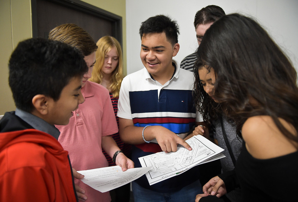 . From left: P-Tech students Jesus Aguilera, Alexander Cralley, Taryn Caquelin, Bryan Carley, Kaleb Allen, Esmeralda Enriquez, and A\'Ishah Fregoso begin a scavenger hunt Thursday morning at Front Range Community College, 2190 Miller Dr. To view more photos visit timescall.com. (Photo by Lewis Geyer/Staff Photographer) August 02, 2018