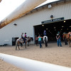 """Competitors line up outside of the arena as they await their turn to compete in the trail class during the POA Futurity and Open Horse Show at the Boulder County Fairgrounds in Longmont on Sunday.<br /> More photos:  <a href=""""http://www.dailycamera.com"""">http://www.dailycamera.com</a><br /> (Autumn Parry/Staff Photographer)<br /> August 28, 2016"""