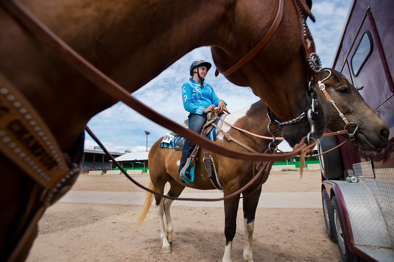 "Katelyn Matthies, 13, waits with her horse, Heyoka, during a break from the POA Futurity and Open Horse Show at the Boulder County Fairgrounds in Longmont on Sunday.<br /> More photos:  <a href=""http://www.dailycamera.com"">http://www.dailycamera.com</a><br /> (Autumn Parry/Staff Photographer)<br /> August 28, 2016"