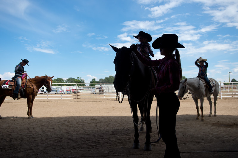 "Emma Widener waits to compete with her Quarter Horse, Coal, in a trail class during the POA Futurity and Open Horse Show at the Boulder County Fairgrounds in Longmont on Sunday.<br /> More photos:  <a href=""http://www.dailycamera.com"">http://www.dailycamera.com</a><br /> (Autumn Parry/Staff Photographer)<br /> August 28, 2016"