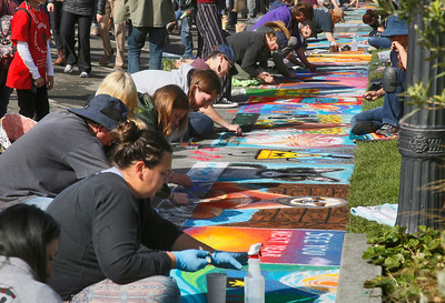 Scores of sidewalk artists ringed the outside of the plaza. (Shaun Walker -- The Times-Standard)