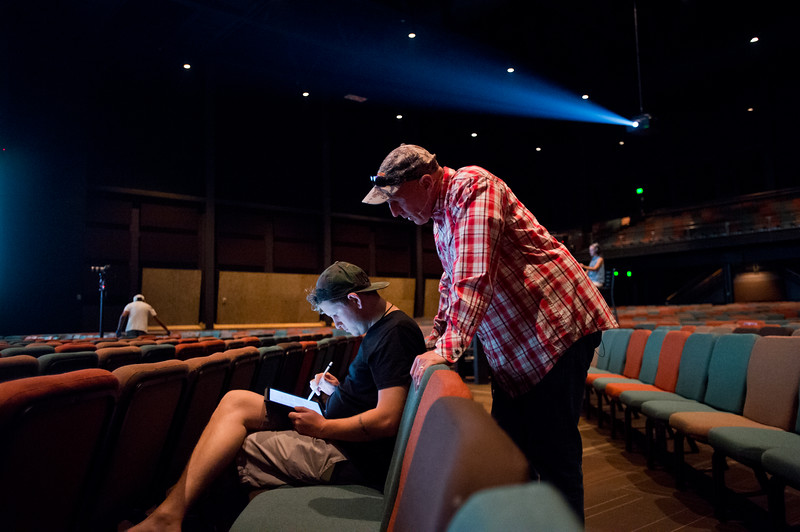 "Pastor Jim Burgen talks with his son Jordan Burgen, the creative director at the church, prior practicing his sermon during a dress rehearsal for the weekend's service at Flatirons Community Church in Lafayette on Saturday, June 25, 2016.<br /> More photos:  <a href=""http://www.dailycamera.com"">http://www.dailycamera.com</a><br /> (Autumn Parry/Staff Photographer)<br /> June 25, 2016"