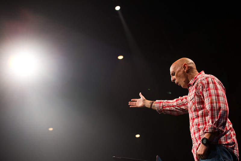 "Pastor Jim Burgen practices his sermon during a dress rehearsal for the weekend's service at Flatirons Community Church in Lafayette on Saturday, June 25, 2016.<br /> More photos:  <a href=""http://www.dailycamera.com"">http://www.dailycamera.com</a><br /> (Autumn Parry/Staff Photographer)<br /> June 25, 2016"