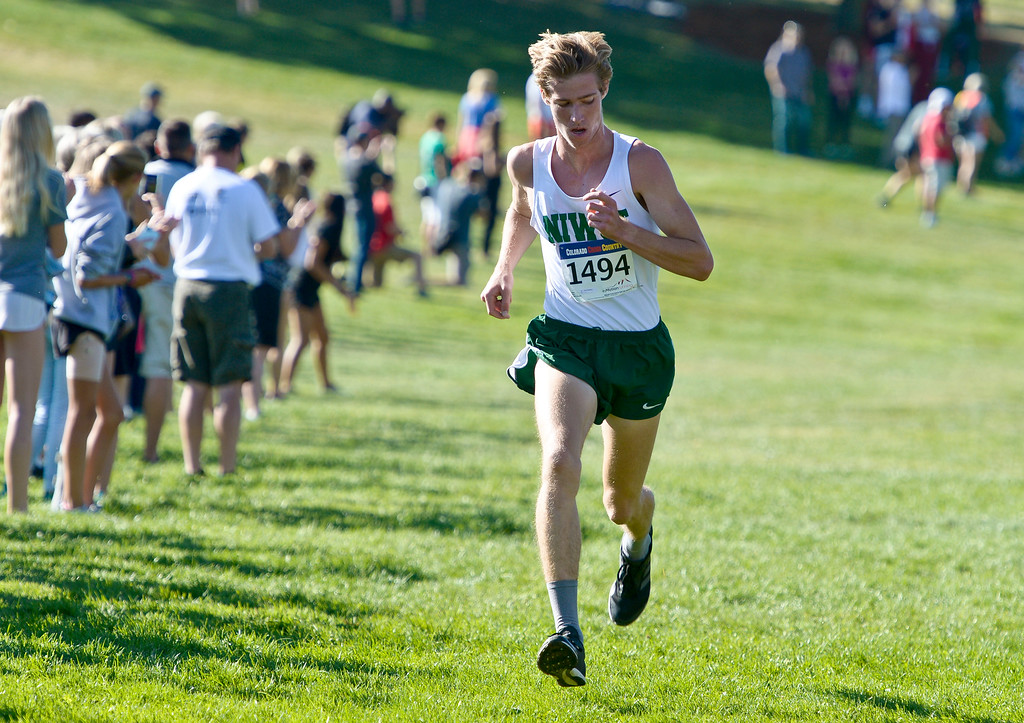 . BOULDER, CO - SEPTEMBER 22, 2018: Niwot\'s Ares Reading has second place all to himself at the Pat Patten Cross Country Invitational Sept. 22 in Boulder. (Photo by Lewis Geyer/Staff Photographer)