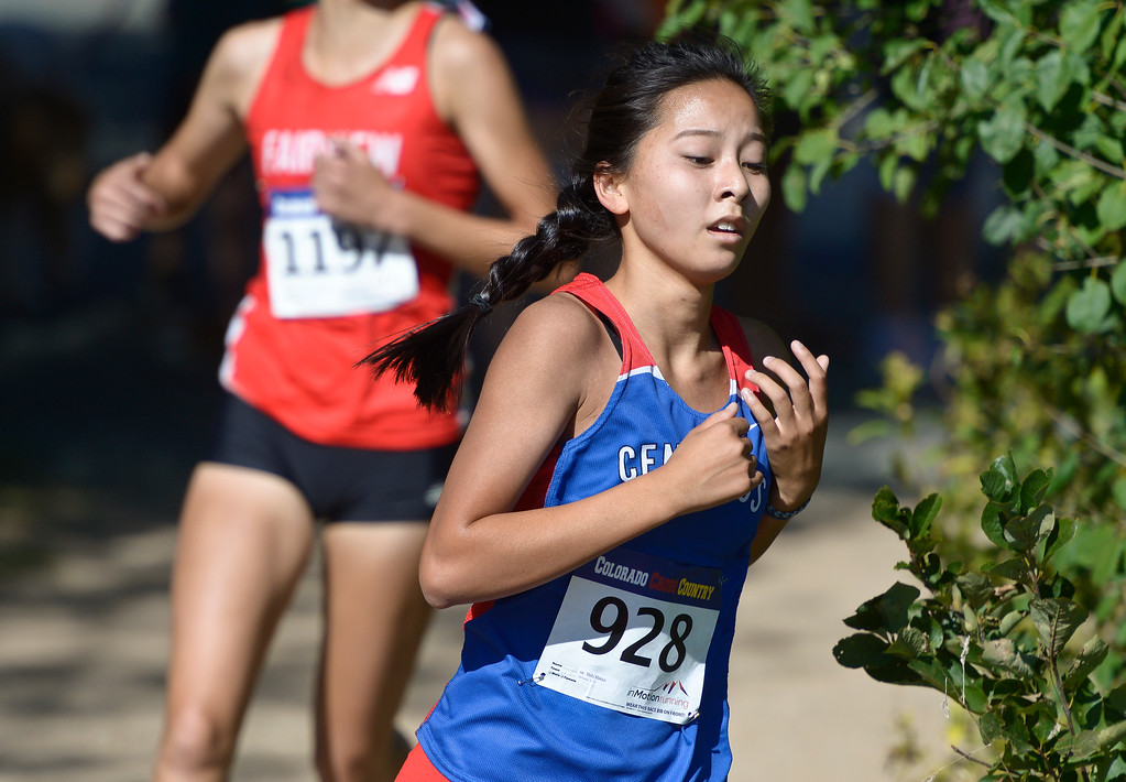 . BOULDER, CO - SEPTEMBER 22, 2018: Centaurus\' Molly Maksin turns a corner on the course at the Pat Patten Cross Country Invitational Sept. 22 in Boulder. (Photo by Lewis Geyer/Staff Photographer)
