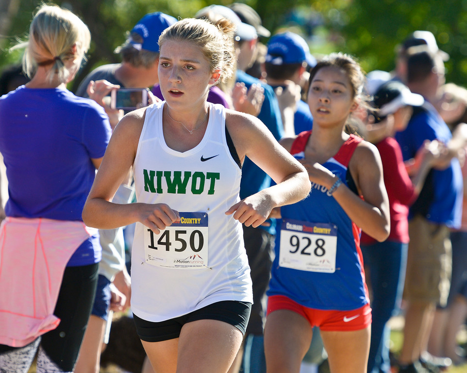 . BOULDER, CO - SEPTEMBER 22, 2018: Niwot\'s Joelle McDonald stays in front of Centaurus\' Molly Maksin during the Pat Patten Cross Country Invitational Sept. 22 in Boulder. (Photo by Lewis Geyer/Staff Photographer)