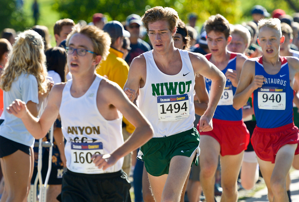 . BOULDER, CO - SEPTEMBER 22, 2018: Niwot\'s Ares Reading races at the front during the Pat Patten Cross Country Invitational Sept. 22 in Boulder. (Photo by Lewis Geyer/Staff Photographer)
