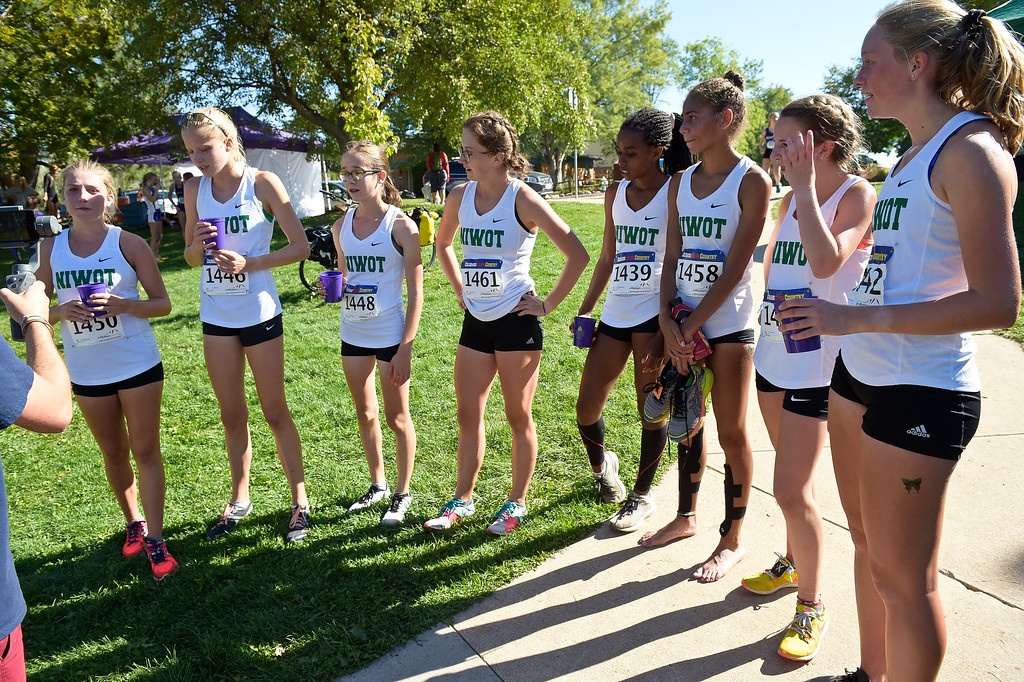 . BOULDER, CO - SEPTEMBER 22, 2018: The Niwot girls varsity cross country team gathers for an interview after competing at the Pat Patten Cross Country Invitational Sept. 22 in Boulder. (Photo by Lewis Geyer/Staff Photographer)