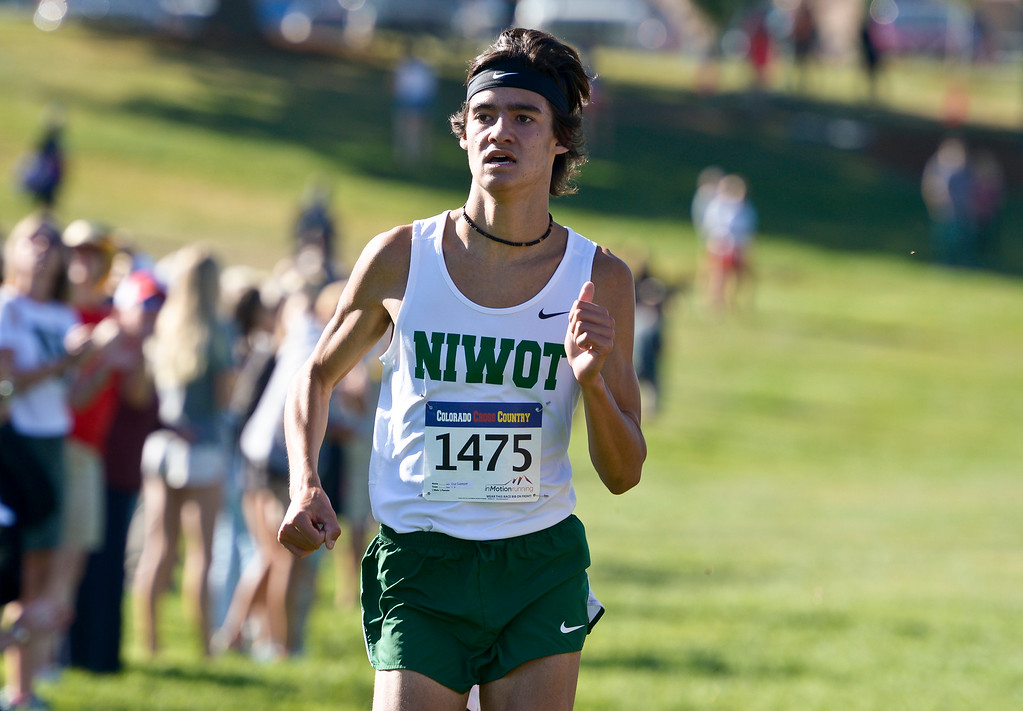 . BOULDER, CO - SEPTEMBER 22, 2018: Niwot\'s Cruz Culpepper finishes in first place at the Pat Patten Cross Country Invitational Sept. 22 in Boulder. (Photo by Lewis Geyer/Staff Photographer)