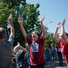 """Micah Cromwell (center) celebrates after his team was dubbed the winners of the pie fight, in Longmont on Saturday. <br /> More photos:  <a href=""""http://www.dailycamera.com"""">http://www.dailycamera.com</a><br /> (Autumn Parry/Staff Photographer)<br /> August 27, 2016"""