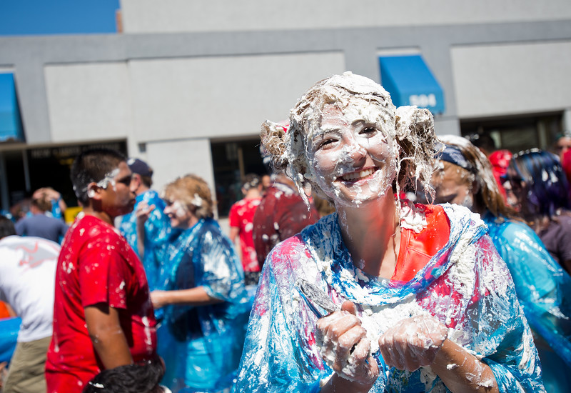 "Claire Gillett is covered in pie after participating in the ""world's largest pie fight"" in Longmont on Saturday. The Twin Peaks Rotary Club held a pie fight to raise money for St. Vrain Valley School District Rotary Youth Programs.  <br /> More photos:  <a href=""http://www.dailycamera.com"">http://www.dailycamera.com</a><br /> (Autumn Parry/Staff Photographer)<br /> August 27, 2016"