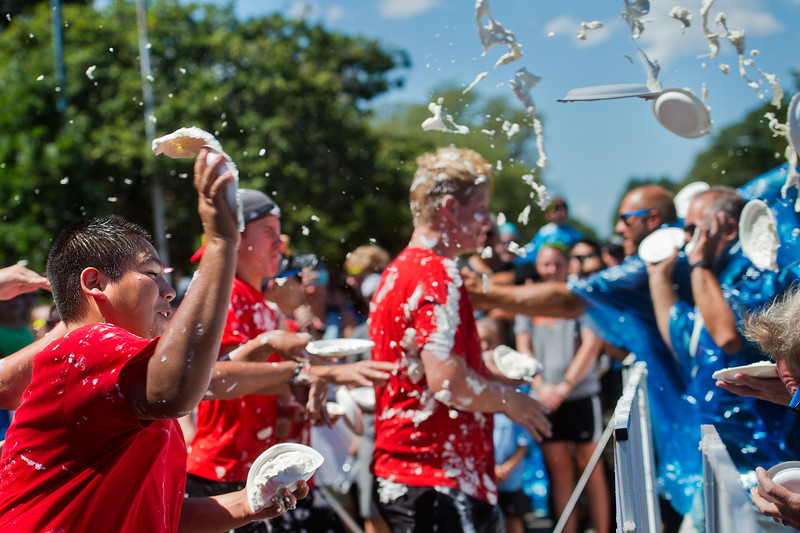 "Marc Rodriguez participates in a pie fight in Longmont on Saturday. The Twin Peaks Rotary Club held a pie fight to raise money for St. Vrain Valley School District Rotary Youth Programs.  <br /> More photos:  <a href=""http://www.dailycamera.com"">http://www.dailycamera.com</a><br /> (Autumn Parry/Staff Photographer)<br /> August 27, 2016"