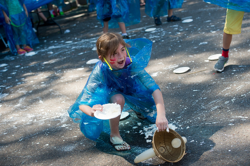 "Clare Gaddis, 8, participates in a pie fight in Longmont on Saturday. The Twin Peaks Rotary Club held a pie fight to raise money for St. Vrain Valley School District Rotary Youth Programs.  <br /> More photos:  <a href=""http://www.dailycamera.com"">http://www.dailycamera.com</a><br /> (Autumn Parry/Staff Photographer)<br /> August 27, 2016"