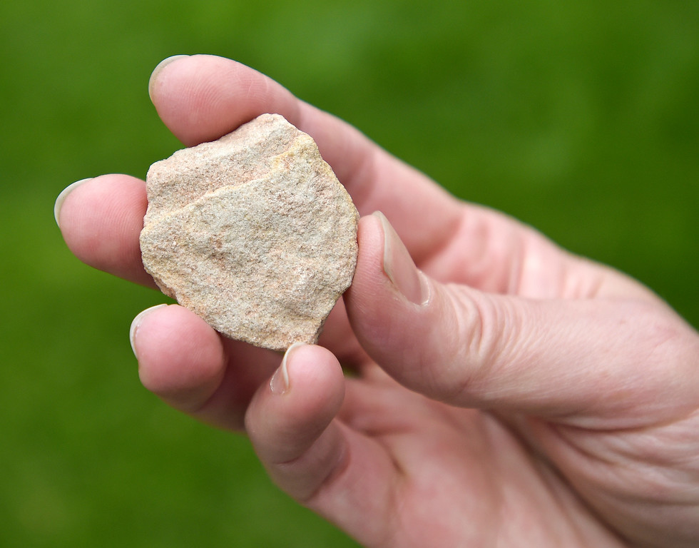 . LONGMONT, CO - AUG. 8: The heart-shaped stone which Jane Hanlon will place at the base of a cross after a 500-mile hike she will be doing in Spain. Hanlon and her father had planned to do the hike together but he died in a motorcycle accident last year. To view more photos visit timescall.com. (Photo by Lewis Geyer/Staff Photographer)