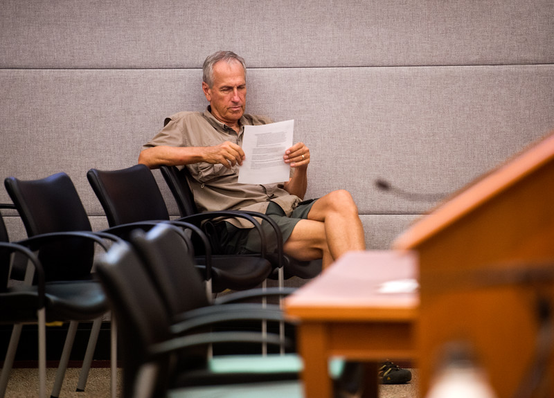 "Ed Kellogg, a Boulder County resident, looks over a document prior to the public hearing at the Boulder County Courthouse on Thursday. <br /> More photos:  <a href=""http://www.dailycamera.com"">http://www.dailycamera.com</a><br /> (Autumn Parry/Staff Photographer)<br /> July 28, 2016"